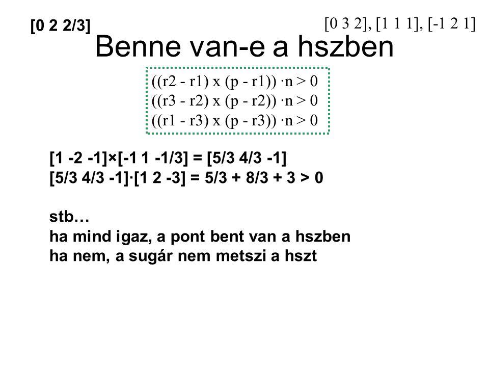 Benne van-e a hszben [0 3 2], [1 1 1], [-1 2 1] [0 2 2/3]